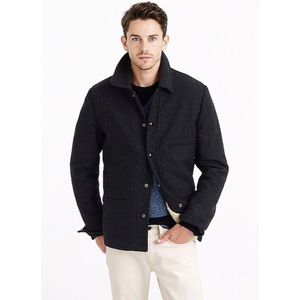 J. CREW Skiff Jacket with Sherpa Lining Wool Gray